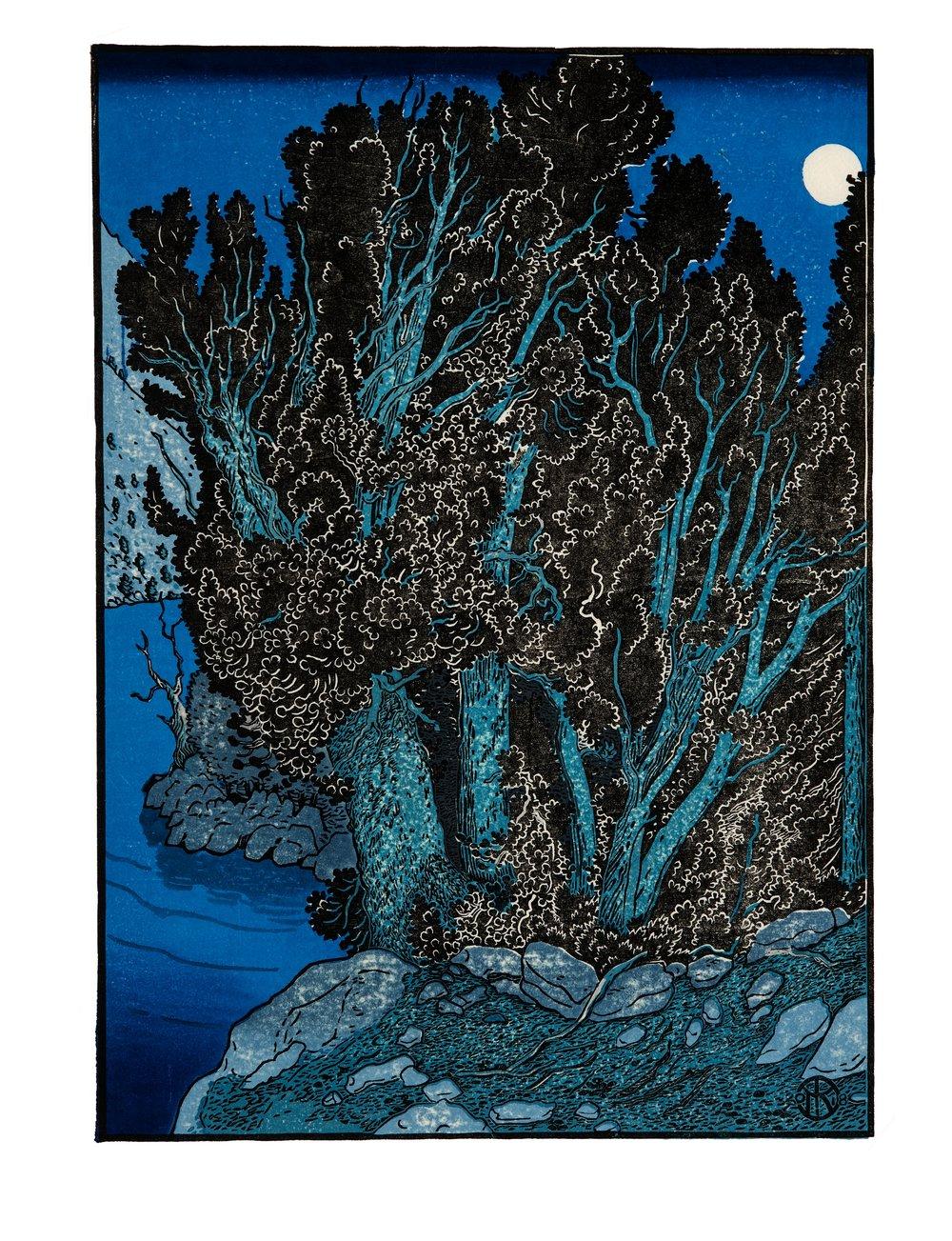 """Moku Hanga """"Moonlit Pines"""""""