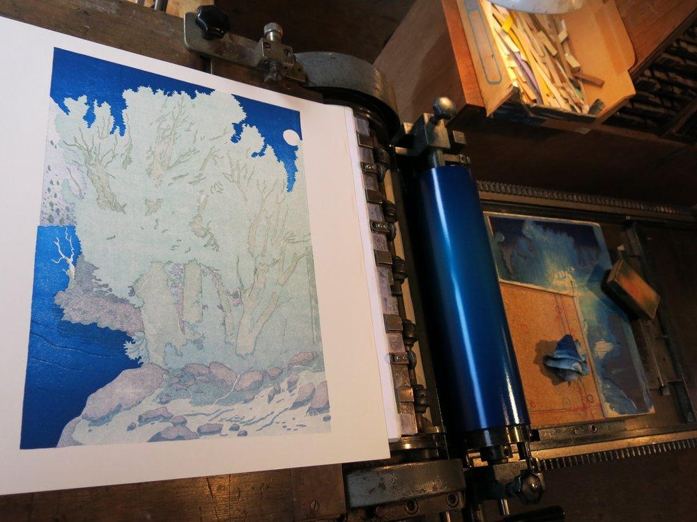 Printing bokashi shading sky/lake