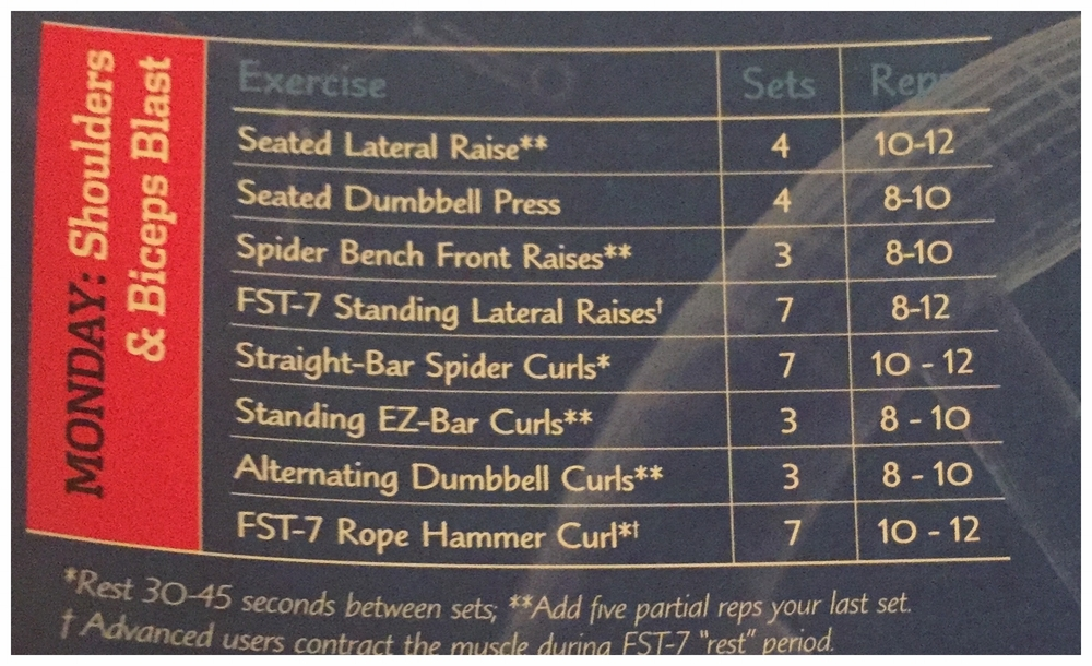 I performed the FST-7 Lateral Raise with dumbbells did the FST-7 Straight Bar Spider Curls as a superset.