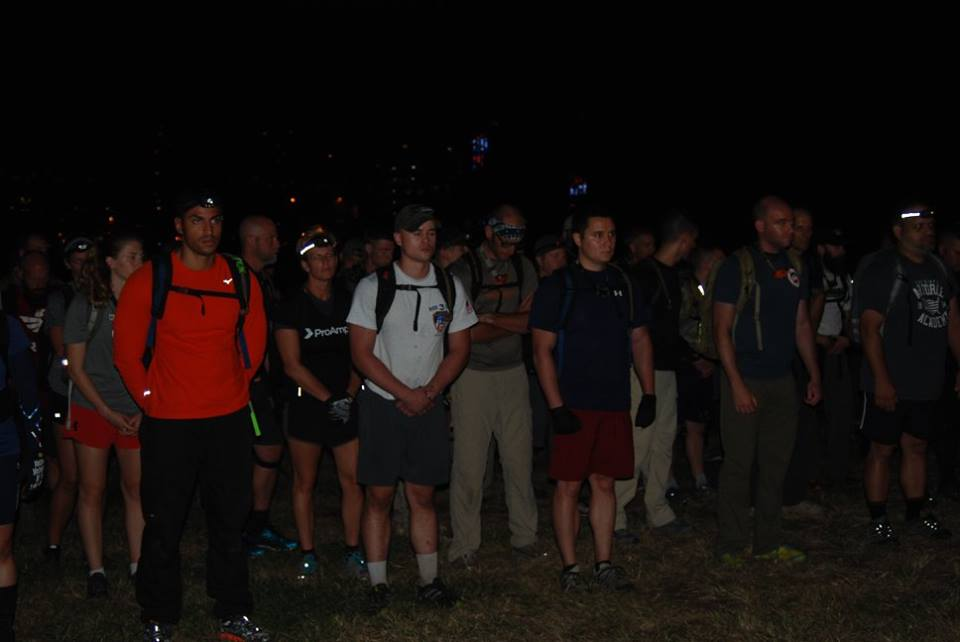 "Mark Barroso, far left, during ""Roll Call"" of Goruck Tough 9/11 in New York, NY."