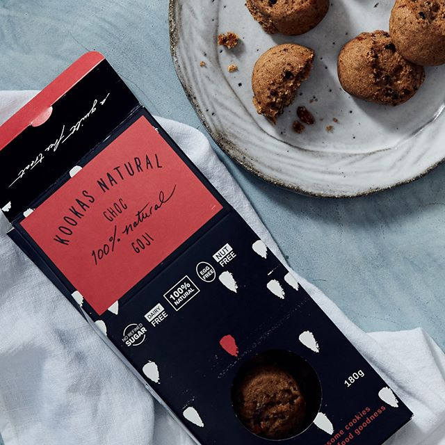 Our antioxidant-rich superfood Choc-Goji cookie delightfully balances organic raw cacao nibs and vibrant red goji berries. A smooth contrast between the sweet and bitter - Get this perfect afternoon snack online via the link in our bio.