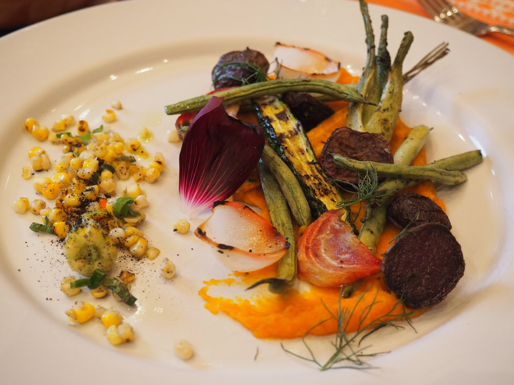The main event, all plant-based (maybe you recognize the beets?). Photo by Jackie Bryant.