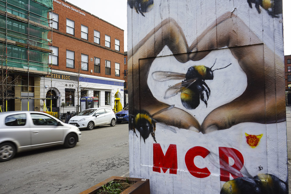 A memorial mural to the 22 people killed by the 22 May 2017 Manchester bombings by street artist Qubek.