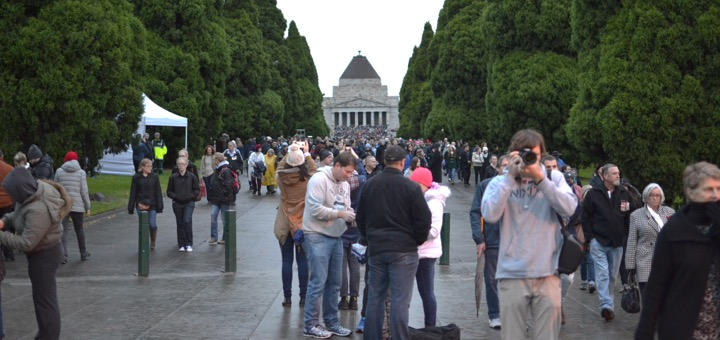 The crowd disperses at the end of the Dawn Service at the Shrine of Remembrance, Melbourne, 2015.
