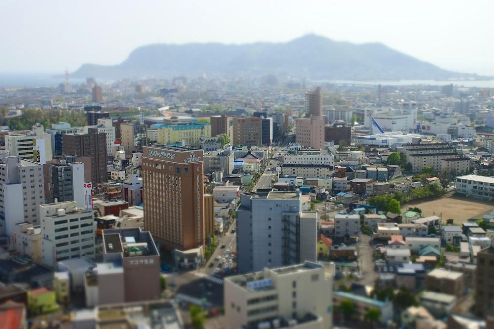 The view of Mt. Hakodate from Goryokaku Tower.