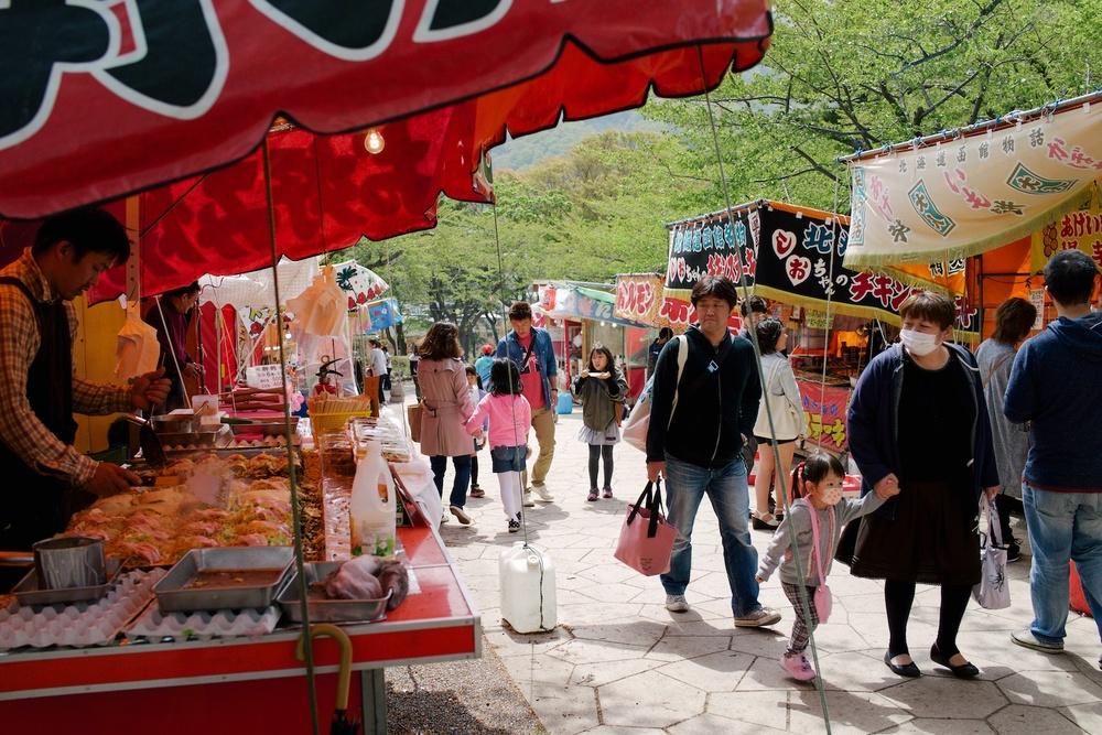Food stalls at Hakodate Park.