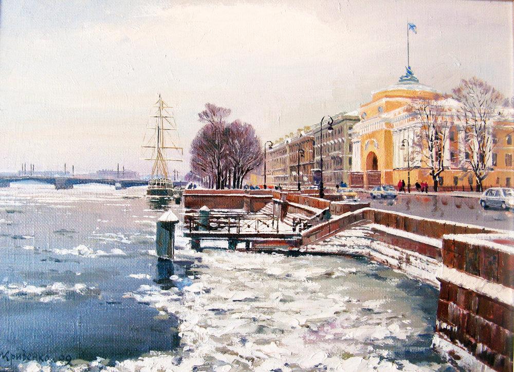 Зима. Адмиралтейская наб. 2009. Хм. 60х75.jpg