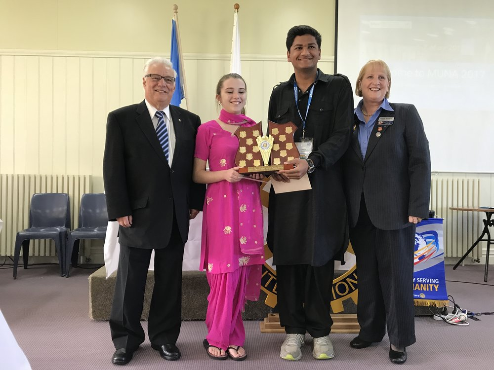 Rotary District 9820 Peace Award - Delegation: India - Aditya & LaurenSchool: Nossal HighSponsored by the Rotary Club of Casey