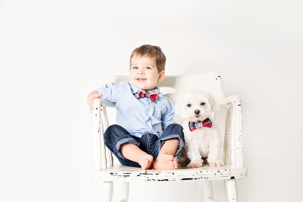 1-red tartan bow tie for dog and boy.jpg