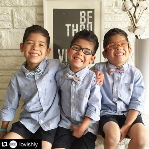 TBT to these three stylish brothers rocking' their sweet smiles and spring bowties! We sure do love you and your family @all12ofus @bryanclopez!