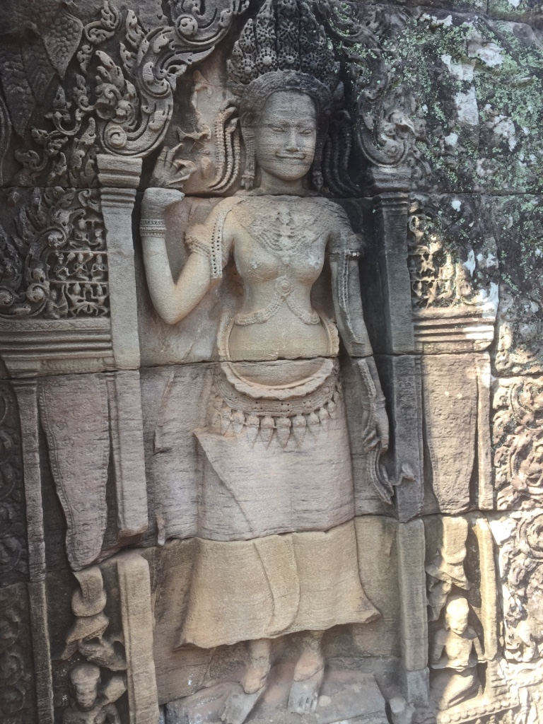 Intricate carvings line the walls of the Bayon