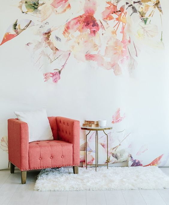 Wallpaper room with orange chair