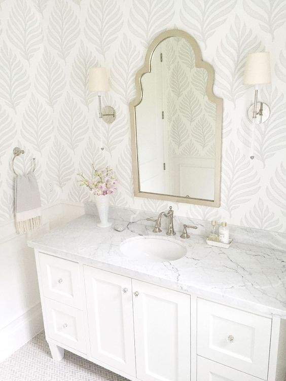 feather wallpaper bathroom