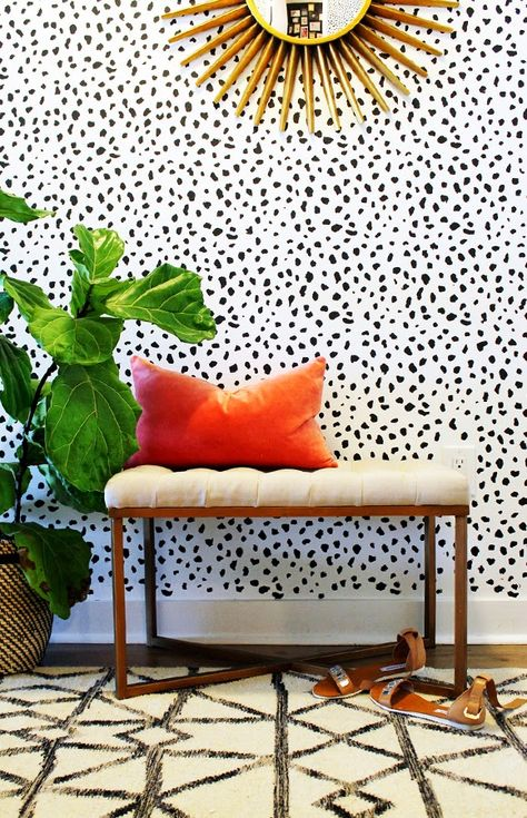 dot wallpaper in hallway
