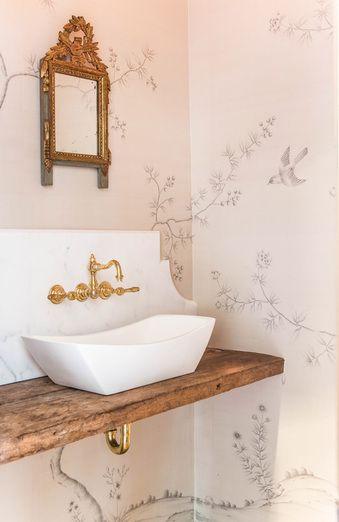 pink wallpaper bathroom