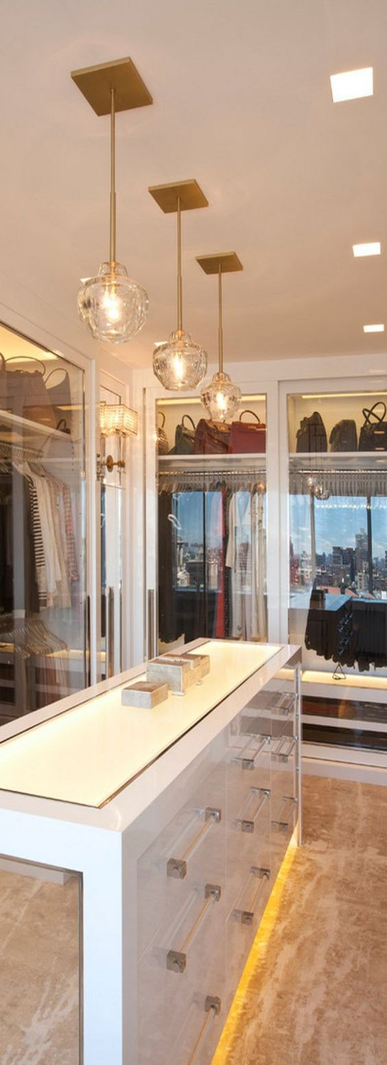 Closet with clear drawers and view