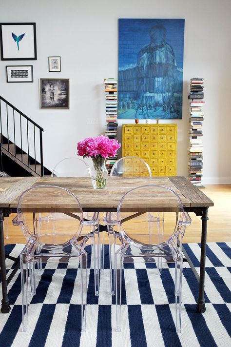 wooden table with acrylic furniture