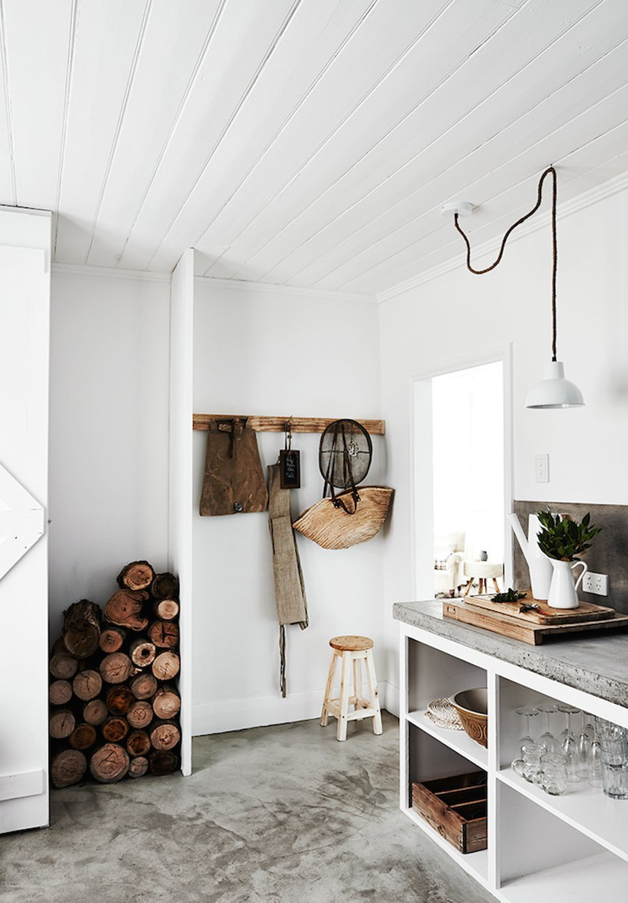 White panel walls in countryside home