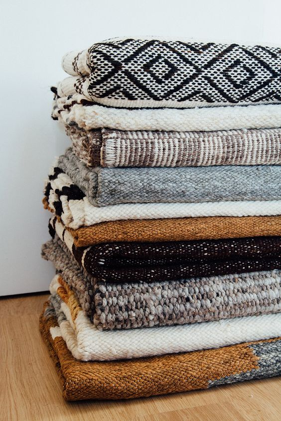 woven blankets with patterns and texture
