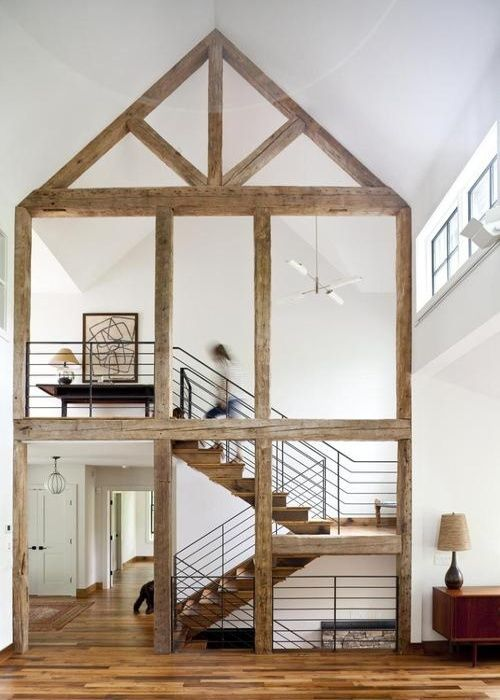 Wooden panel frame inside home