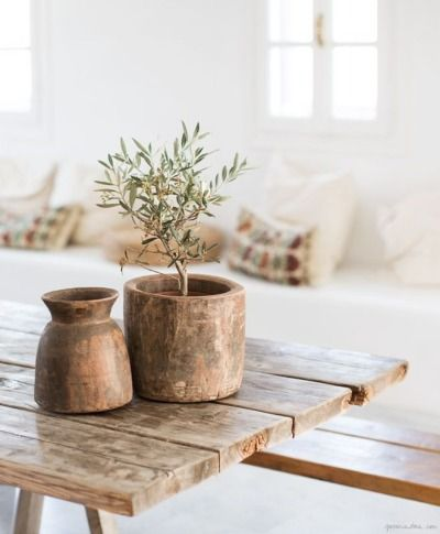 Wooden table with wood decor