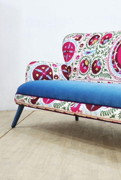 Pattern sofa with pink and blue