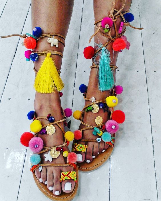 Colourful pom poms sandals