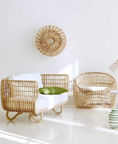 Rattan and wicker sofa