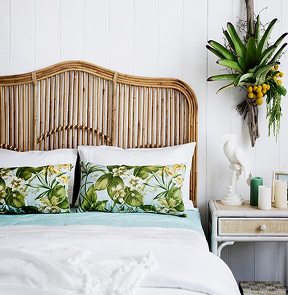 Rattan headboard with green theme