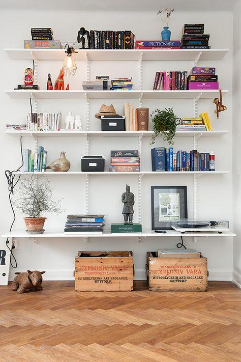 Large floating shelves in living room
