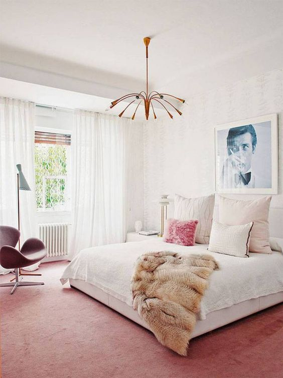 Pink bedroom with light shade