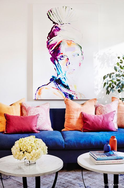 Pink living room with art