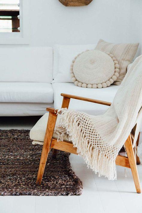 linen blanket on chair
