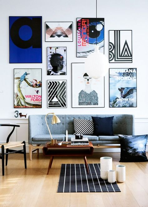 pop art gallery wall above couch