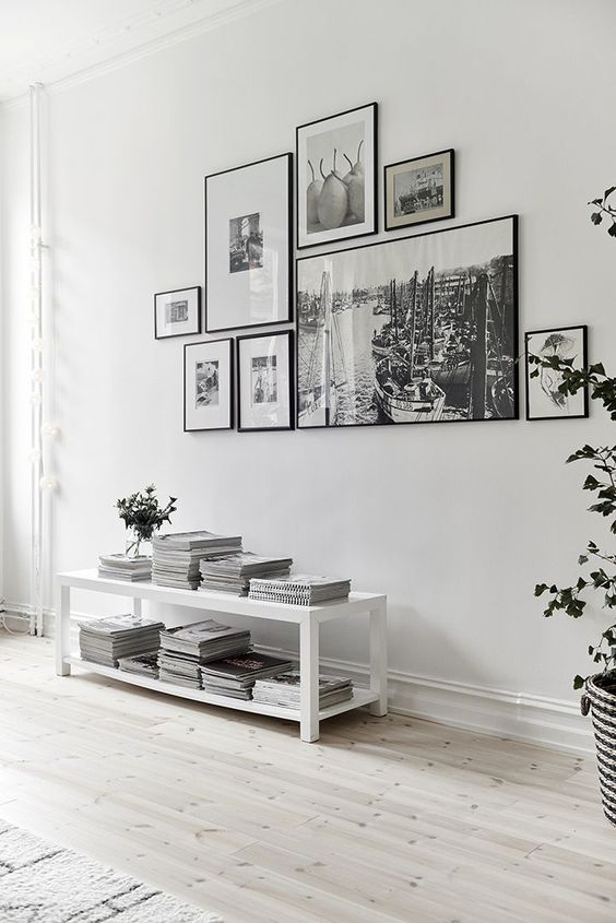 Gallery wall with black frames
