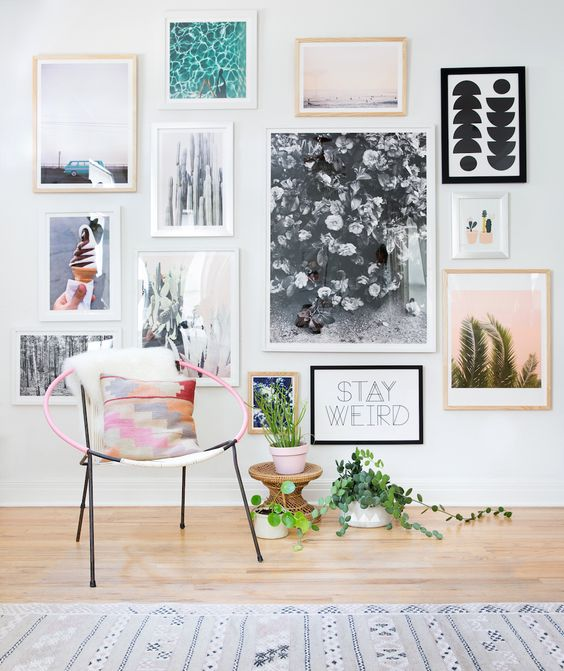 colourful gallery wall with white frames