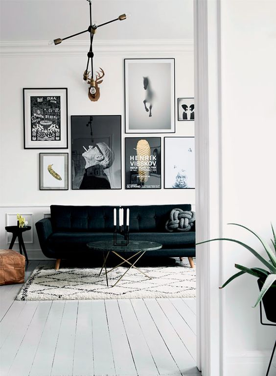 edgy gallery wall with artist