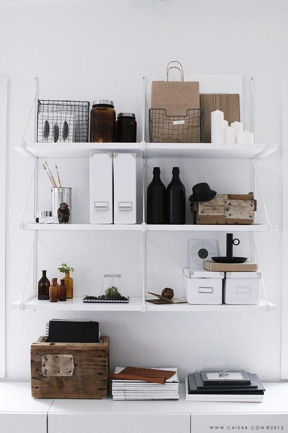 Study room with white shelves