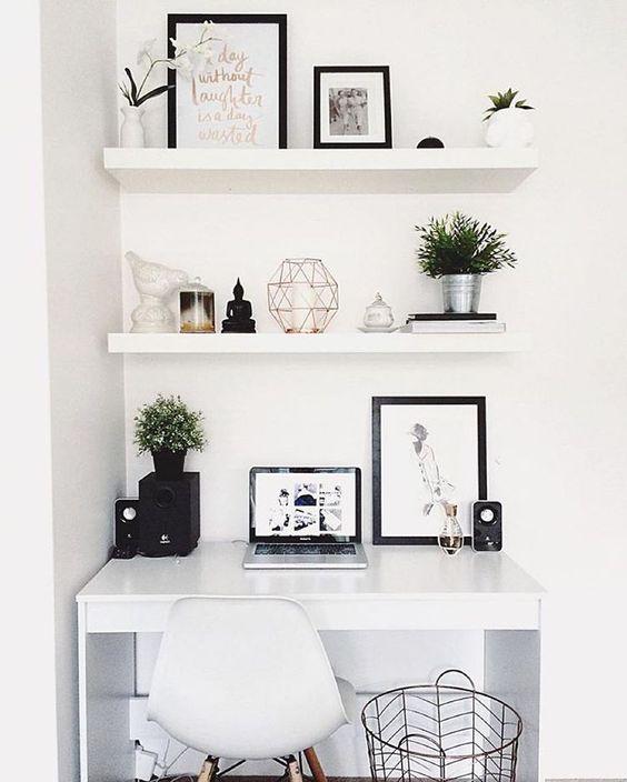 White floating shelves in study