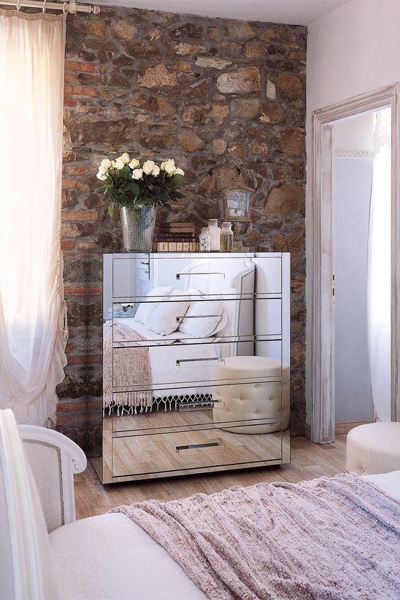 Silver cupboard with mirror