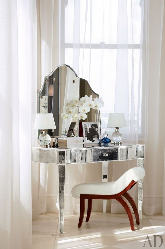 silver mirrored dressing table