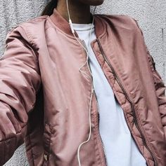 The Return of the bomber jacket   - keep it athletic with a nude pink jacket