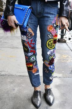 Add a whimsical feel to your jeans with cool and quirky embroidery icons