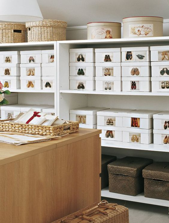 Shoe storage with photos