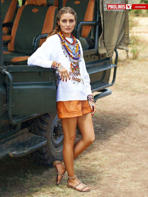 Olivia Palmero Looking safari chic with an oversized Braided necklace