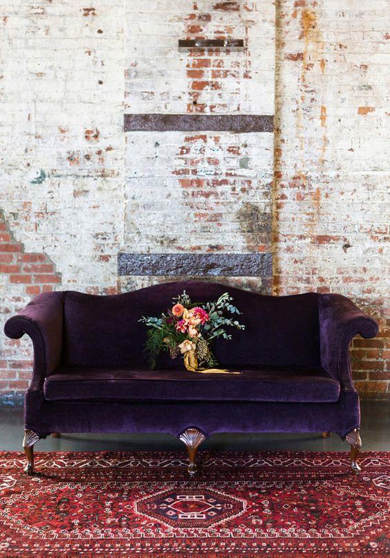 purple chair velvet