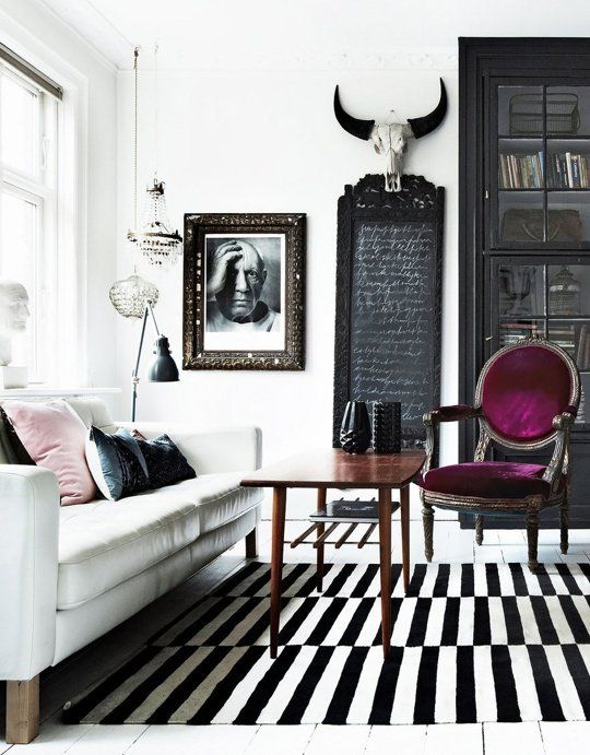 purple chair and white interior