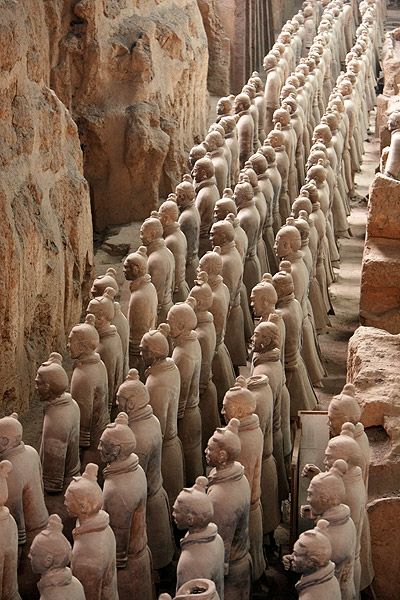 The  Terracotta Army  is a world-renowned collection of terracotta sculptures depicting the armies of Quin Shi Huang, the first Emperor of China.
