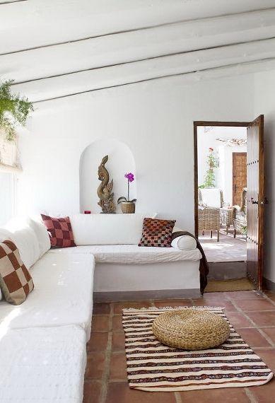 terracotta tile living room