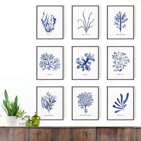 blue and white prints and artwork